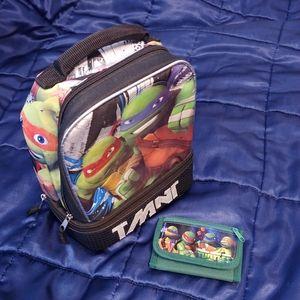 TMNT Ninja Turtles lunch bag and kid's zip wallet